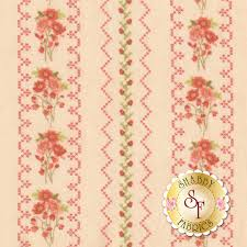 100 Flannel Flower Glass Gentle Garden F828535 Floral Stripe Pink By Henry Fabrics