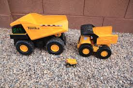 BIG Tonka Metal Toy Dump Trucks Backhoe Front Loader - YouTube