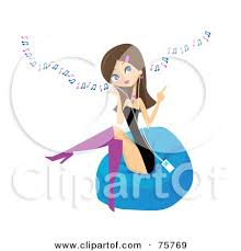 Royalty Free RF Clipart Illustration Of A Stylish Young Brunette Woman Sitting On Bean Bag And Listening To Music Through An Mp3 Player By Peachidesigns