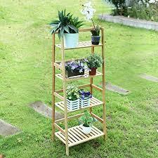homfa bücherregal badezimmer bambus regal lagerung für bücher pflanzen regal für wohnzimmer küche mit 4 regalen natürliche farbe