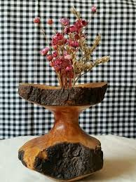 Natural Wood Vase With Bark