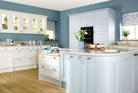 Beautiful Modern Country Kitchen Decor Displaying With Steel Blue Walls Paint Colors And White Cabinets Plus Tempered Glass Door Storage