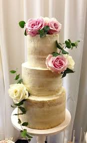 More Details Semi Naked Tiered Wedding Cake With Rustic Buttercream Finish And Fresh Roses Greenery Victorias