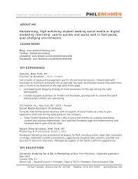 Inbound Marketing Intern Resume Sample