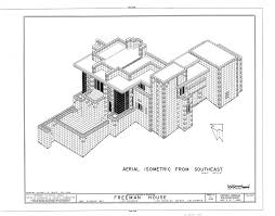 100 Frank Lloyd Wright Sketches For Sale Freeman House Isometric Drawing Los