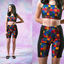 Vtg 90s Checkered Shorts Colorful Rainbow Sports Active Wear 1990s Vintage American