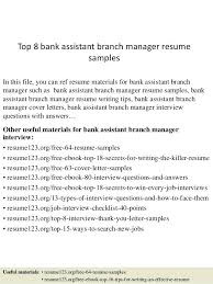 Bank Manager Resume Samples Assistant Branch Indian Sample
