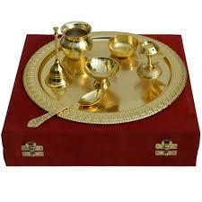 German Silver Golden Pooja Thali