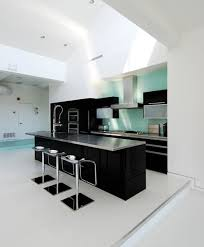 BedroomUltra Modern Kitchen With Black And White Interior Also Feat Glossy Countertop