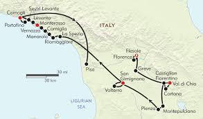 Tuscany Portofino And The Cinque Terre Route Map