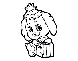 Little Christmas Dog Coloring Page