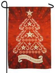 Candy Cane Christmas Tree Glitter Suede Garden Flag