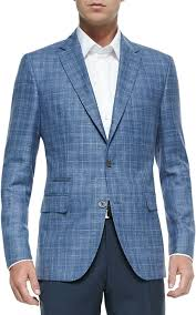 hugo plaid suit 845 blue plaid wool blazer hugo plaid two button
