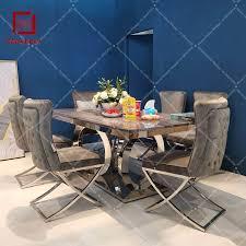 moderne silber rahmen grau samt esszimmer stuhl hoher