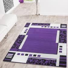 teppich kurzflorteppich bordüre in lila creme schwarz