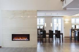 Electric Fireplace Built Into The Wall That Separates Living Room From Kitchen And Dining Creates A Necessary Accent Warms Up Both Areas