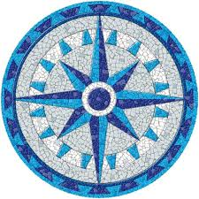 image of entrancing drop in pool mosaics with compass mosaic