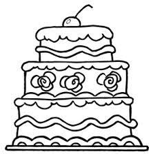 Free Cake Clip Art Image Multi Layer Birthday Cake Coloring Page