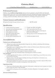 Resume Sample Nurses Nursing Example Certified Assistant Professional For