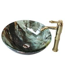 Drop In Bathroom Sink Bowls by Thick Drop In Overmount Round Stained Glass Bowl Sinks