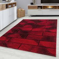 moderner designer wohnzimmer teppich beta 1110 rot größe 80x150 cm