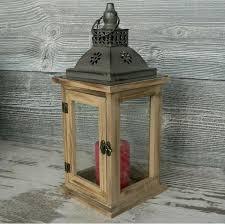 laterne holz 33cm groß glas mit metalldach braun windlicht