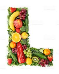 The Letter L Made Up Colorful Fruit And Ve ables stock photo