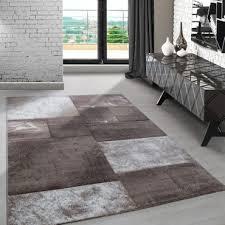 designer teppich kurzflor wohnzimmerteppich konturschnitt karo gemustert beige