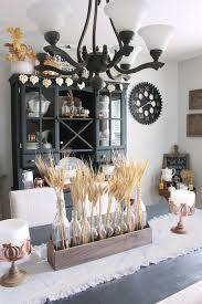 Neutral Farmhouse Style Dining Room Decorated For Fall With Wheat Centerpiece