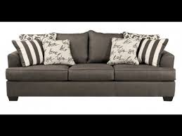 ashley levon contemporary charcoal fabric pillow back sofa youtube