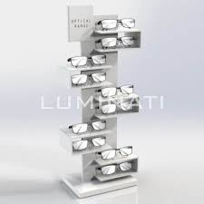 Counter Top Display Stand For Glasses Made From White Acrylic With Branding Designed And