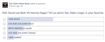 sammy vs dave poll and vhnd s facebook page news van halen