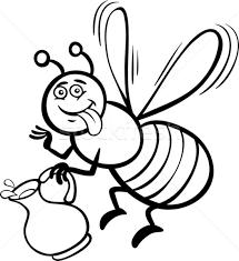 Honey Bee Cartoon For Coloring Book Vector Illustration C Igor Zakowski Izakowski 2604447