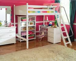 White Low Loft Bed With Desk by Low Dark Wooden Loft Bed With Pull Out Desk And Storage Dresser