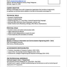 Sample Resume Format For Fresh Graduates One Page Regarding Graduate Information Technology