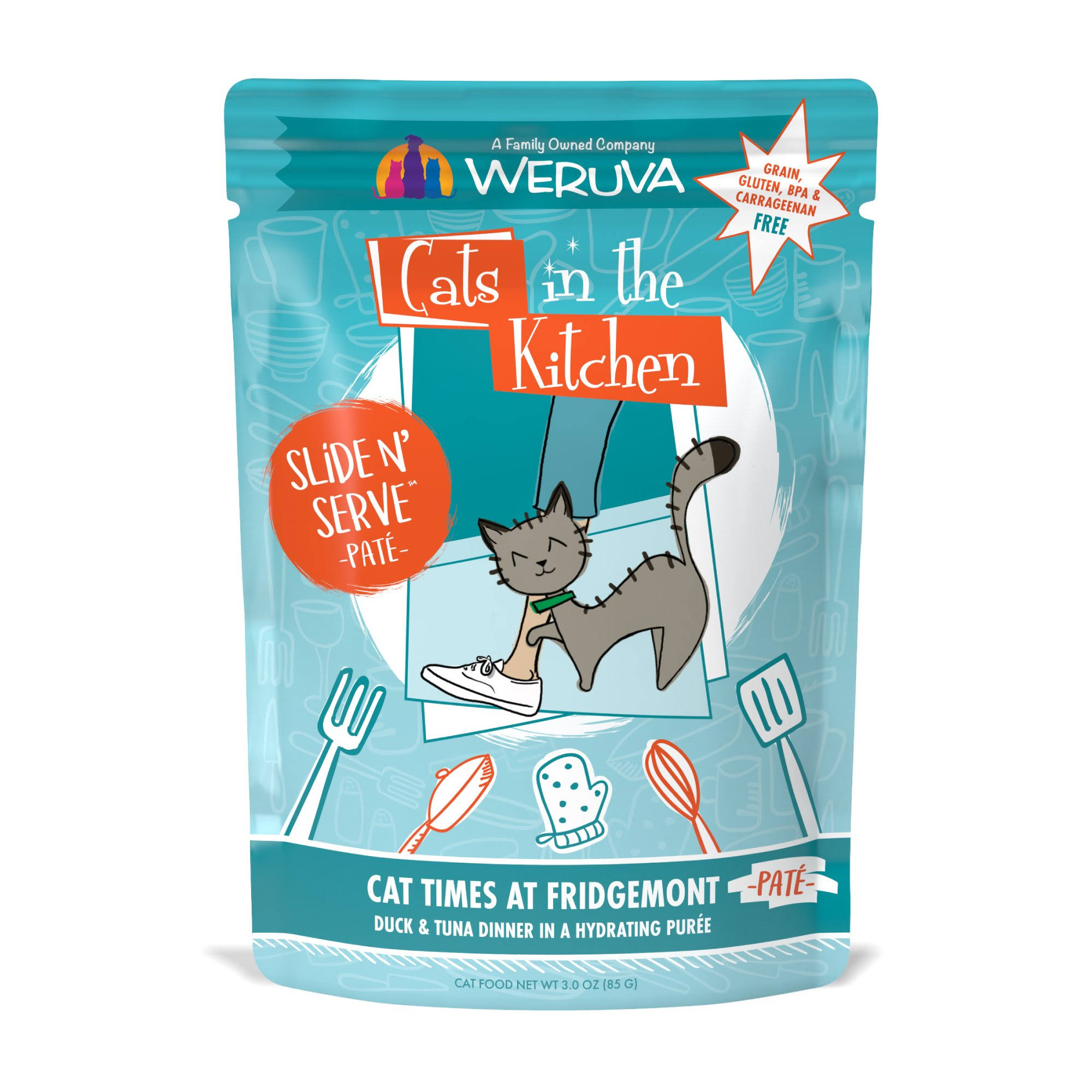 Weruva Cats in The Kitchen Pate Cat Times at Fridgemont Duck & Tuna Dinner in A Hydrating Puree Wet Cat Food, 3 oz, Case of 12