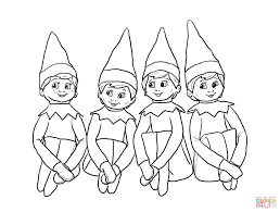 Elves Coloring Pages On The Shelf Page Free Printable Online