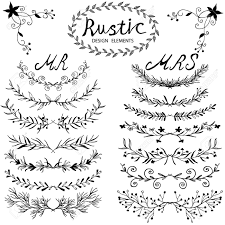 Hand Drawn Vector Floral Design Elements In Rustic Style Vintage Set Of