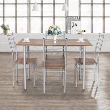 US $139.99 |Goplus 5 Pieces Dining Table Set 1 Wooden Dining Table With 4  Dinig Chairs Metal Modern Kitchen Breakfast Furniture HW55389NA On ... Hever Ding Table With 5 Chairs Bench Chelsea 5piece Round Package Aqua Drewing And Chair Set By Benchcraft Ashley At Royal Fniture Trudell Upholstered Side Signature Design Dunk Bright Lawson Piece Includes 4 Liberty Darvin Barzini Black Leatherette Coaster Value City Pc Kitchen Set A In Buttermilk Cherry East West The District Leaf Intercon Wayside Grindleburg Vesper Round Marble Ding Table Piece Set Brnan Amazoncom Tangkula Pcs Modern Tempered