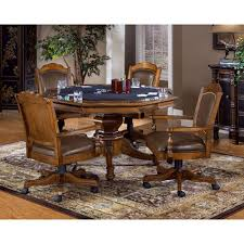 251 First Wellington Brown Game Table Set With Four Chairs