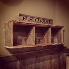 Our Barn Board Helmet Rack Made By Mono Centre Salvage Wood Company Motorbike StorageWood