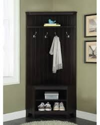 1PerfectChoice Corner Hall Tree Coat Rack Shoe Storage Cabinet Bench Shelves Wooden Black