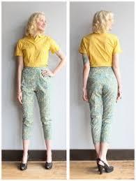 1960s Pants Floral Cigarette Pant Vintage 60s
