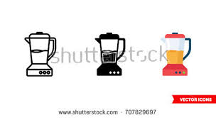 Blender Icon Of 3 Types Color Black And White Outline Isolated Vector