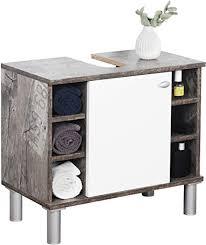 ricoo wm100 cf w waschbecken unterschrank badezimmer waschtisch klein holz eiche vintage grau türe weiß badschrank für bad gäste wc ohne becken