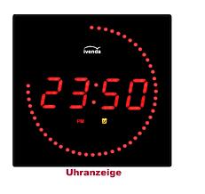 digitaluhr digital wanduhr wohnzimmer küchenuhr 32cm rot
