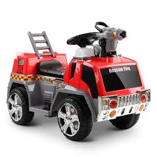 Kid's Electric Fire Truck 6V In Red & Grey – Kids Mini Ride