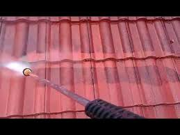 pressure washing concrete tile roof