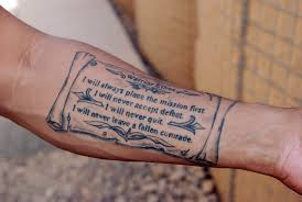 Amazing Military Quotes Tattoo On Forearm