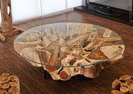 design teakholz couchtisch für das wohnzimmer wurzelholz tisch mit 100 cm glasplatte auf drei schwarzen metallfüßen handarbeit unikat